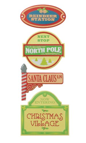 Karen Foster Adhesive Back Vintage Signs 4/Package, Christmas