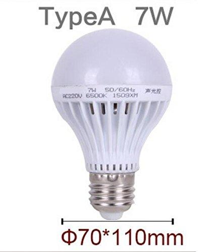 Bewegungsmelder Lampe LED E27Sound + Lichtsteuerung Auto Smart Erkennung für Tür Tor Treppe Lampe mit den Bewegungssensor Licht, Weiß, E27 7W