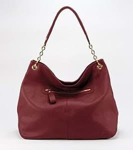 CUORE & PELLE Sophia Bag Burnished Red Genuine Leather Hobo Purse Handbag