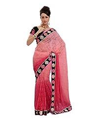 Fabdeal Traditional Wear Light Pink Net Jacquard Printed Saree-QQASR1532BD