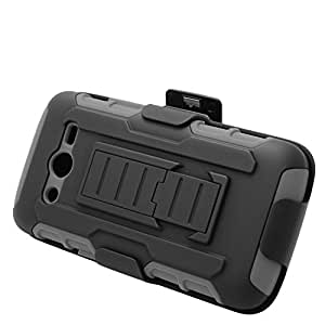 Eagle Cell Hybrid Skin Case with Holster for Samsung Galaxy Avant SM-G386T - Retail Packaging - Grey/Black