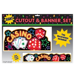 Casino Night Poker Themed Giant Cutouts and Banner Set, Adult Party Supplies - 1