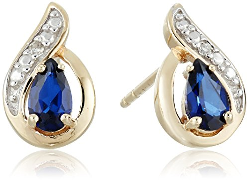 14k-Yellow-Gold-Created-Gemstone-and-Diamond-Accent-Earrings