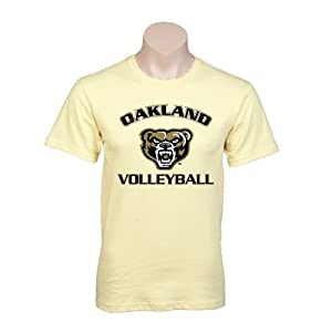 Oakland University Champion Vegas Gold T-Shirt-Medium, Oakland w/ Bear Volleyball