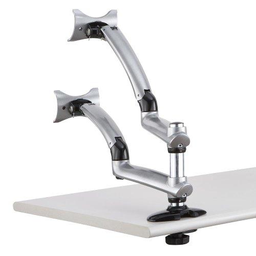 Cotytech Dual Apple Desk Mount Spring Arm Grommet Base - Silver (Dm-Gsda-G)