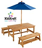 Table & Benches with Blue Umbrella