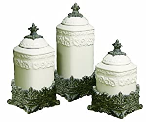 Drake Design 3442 Medium Canister 3 Piece Set Cream 12 5 10 5 8 5 Inch