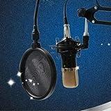 Filtro protector Bluecell, para micrófono de estudio, redondo de 6 pulgadas de diámetro,   mascara de protección con soporte