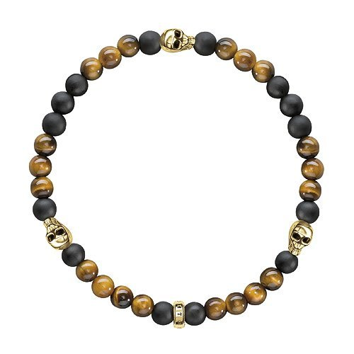 Thomas Sabo Rebel at Heart Women's Bracelet Skulls Gold Silver Gold Plated Brown Tiger's Eye 15.5 cm - A1507 881/Two l15,5