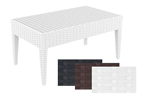 CLP-Design-Coffee-Table-MIAMI-approx-90-x-50-cm-made-of-plastic-in-RATTAN-look-choice-of-colours-stackable-UV-water-resistant-colour-fast-white