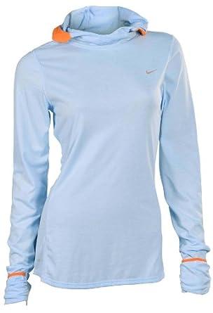 Nike Ladies Soft Hand Hoodie Hooded Running Shirt-Light Blue by Nike