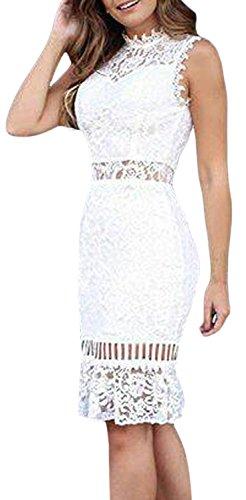 IF FEEL Womens Sleeveless Ruffle Hem Lace Hollow Out Evening Bodycon Midi Dress ((US 8-10)M, white)
