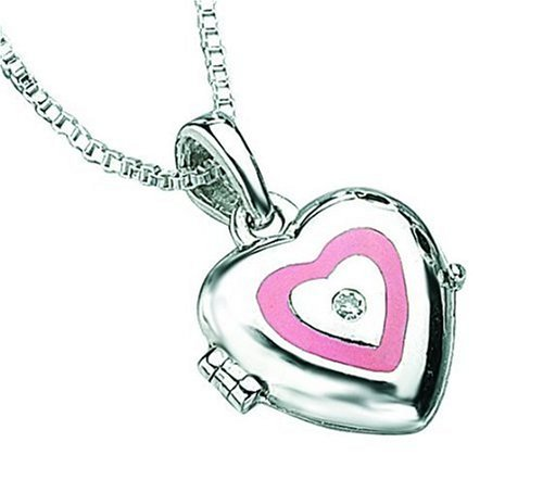 D for Diamond Sterling Silver P2157 Girls Diamond Set Pink Resin Heart Locket