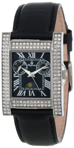 Burgmeister Ladies Quartz Watch with Black Dial Analogue Display and Black Leather Strap BM602-122