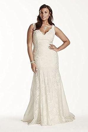 Lace Jewel Scalloped Mermaid Plus Size Wedding Dress Style 9WG3757 At Amazon Womens Clothing Store