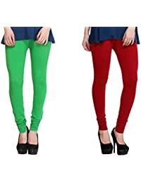 Leggings Free Size Cotton Lycra Churidar Leggings - Pack Of 2 Of Green & Mahroon Colour By SMEXY