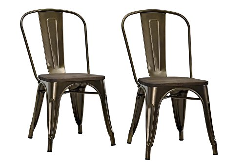DHP Fusion Metal Dining Chair with Wood Seat (Set of 2), Antique Bronze (Cool Dining Set compare prices)