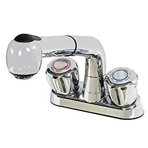 Laundry Tub Faucet With Pull Out Spout Heavy Duty Plastic Chrome Finish