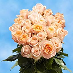 2 Dozen Fresh Cut Peach Roses | Absolutely Adorable! | Fresh Flowers Express Delivery | Perfect for Birthdays, Anniversary or any occasion.
