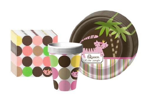 Queen of the Jungle Party Supplies Pack Including Plates, Cups, and Napkins- 8 Guests