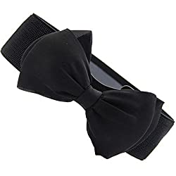Imported Fashion Women Bowknot Bow Wide Stretch Buckle Waistband Waist Belt Black