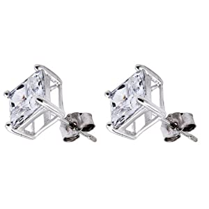 Pure .925 Sterling Silver Princess Cut Stud Earrings 5 Mm. Each Stone 1.5 Carats Total Weight Comes in a Gift Box & Special Pouch