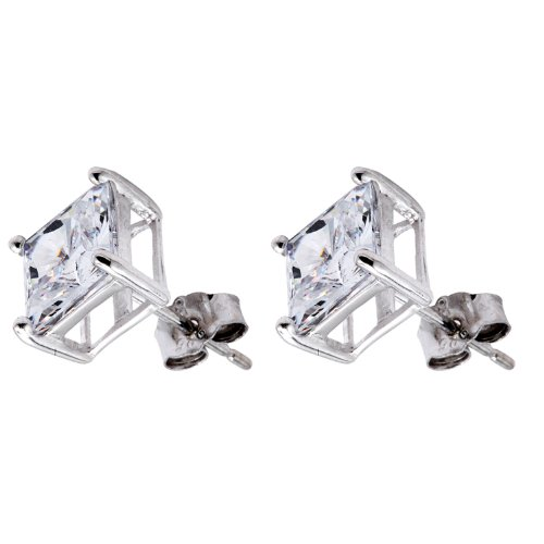 Pure .925 Sterling Silver Princess Cut Stud Earrings