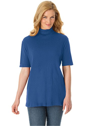 Women's Plus Size Top, Turtleneck In Soft Ribbed Knit Royal Navy,L