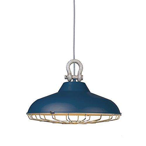ETH Lampada a sospensione 'Strijp' industriale blu/metallo - adatta per LED / interna
