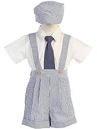 Boys Blue Seersucker 4 Pc Suspender Shorts - 4T