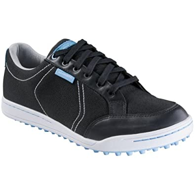 Ashworth Mens Cardiff Canvas Spikeless Golf Shoes 9 US Medium Black/Columbia Blue