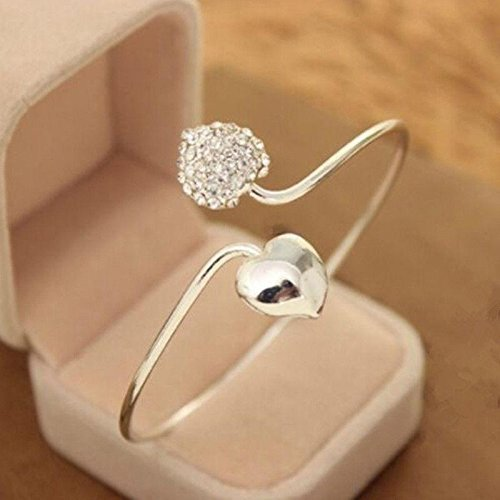 STRONGCLOUD Beautiful Fresh Eye-Catching Charming Crystal Love Heart Bangle