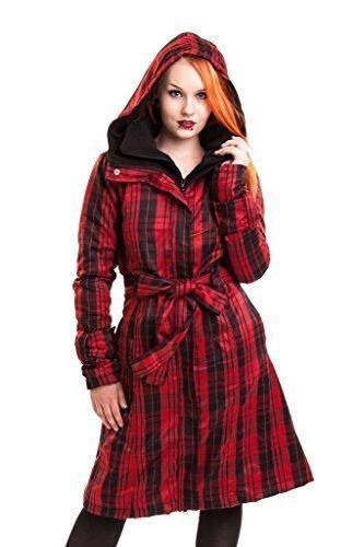 Poizen Industries Mystique Cappotto Donna Rosso A quadri Stile Gotico Punk per Donne e ragazze Red Check Large