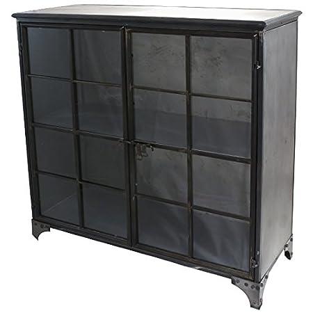 Bahut aparador armario vitrée estilo industrial hierro metal 100cm