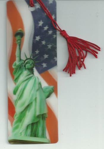 Holographic Patriotic Statue of Liberty and Flag Plastic Bookmark with Tassel