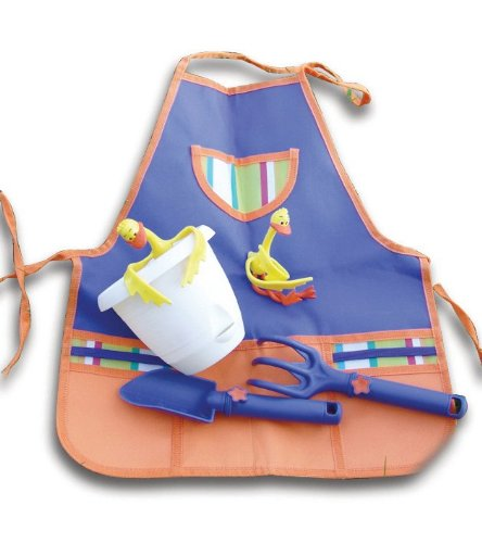 Tierra-Derco W0015 Childrens Tool Kit Plastic Trowel and Fork Flexible Duck Plant Supports, Apron