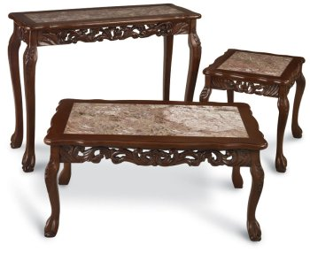 Cheap Handcarved Wood and Marble Console Table (B0001U1R4M)