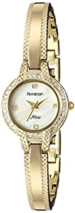 Armitron Women's 75/5219MPGP Swarovski Crystal Accented Gold-Tone Textured Bangle Watch