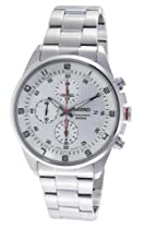 Seiko Silver Dial Chronograph Stainless Steel Mens Watch SNDC87