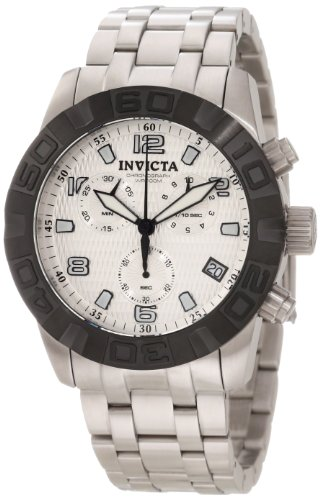 Invicta Men's 11453 Pro Diver Chronograph Silver Textured Dial Stainless Steel Watch
