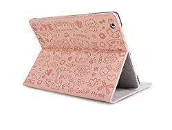 RKA iPad 4 3 2 Magnetic Cute Cartoon Leather Case Smart Cover Light Pink