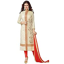 ZHot Fashion Women's Embroidered un-stitched Dress Material In Cotton Fabric (ZHASW1004) Beige and Red