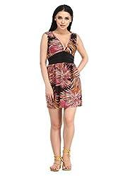 Summer waist belt Printed Beach Dress - NK4140-4
