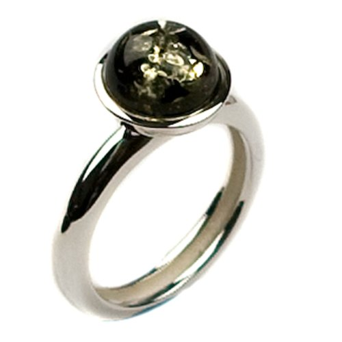 Green Amber And Sterling Silver Round Ring