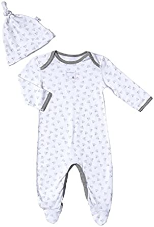 Burt's Bees Baby Unisex Baby Honeybee Print Footed Coverall Set (Baby)-Gray