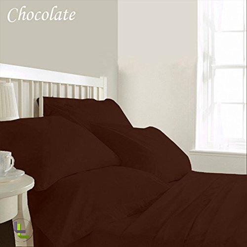 Bed Bee Cal King 400Tc Wonderful 1Pc Flat Sheet, 1Pc Fitted Sheet & 4 Pillowcases Waterbed Solid (Pocket Size: 21 Inches) Chocolate Solid 100% Egyptian Cotton front-963997