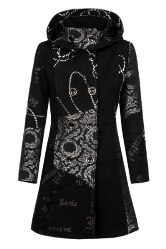 Laeticia Dreams Damen Luxus Winter Mantel Patchwork Trenchcoat Kapuze S M L XL, Farbe:Schwarz;Größe:46