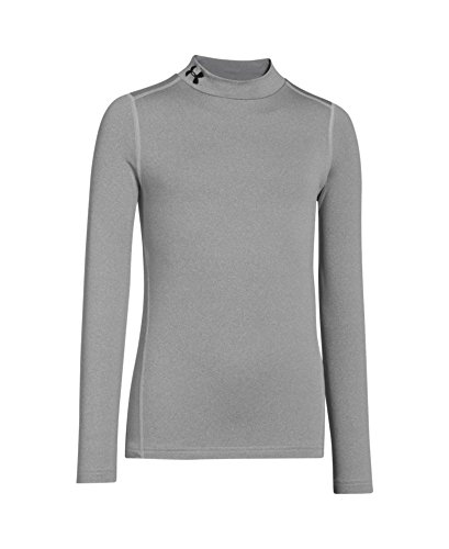 Under Armour Youth Boys' ColdGear Evo Fitted Long Sleeve Mock Shirt, True Gray Heather/Black, Large