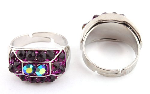 Ladies Iced Out Two Tone Silver with Purple Symmetrical Style Adjustable Finger Ring