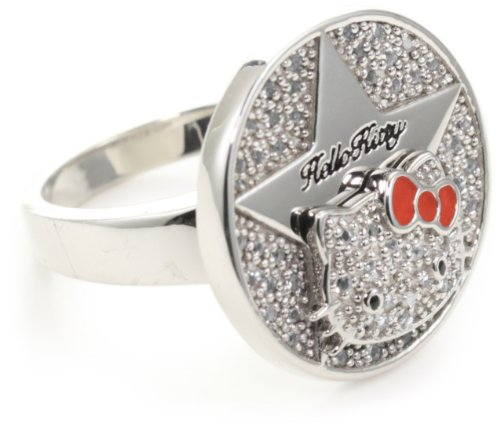 "Hello Kitty ""Superstar"" White Sapphire and Diamond Ring, Size 7"